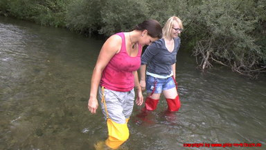 Daisy and Frieda in Hunter Waders